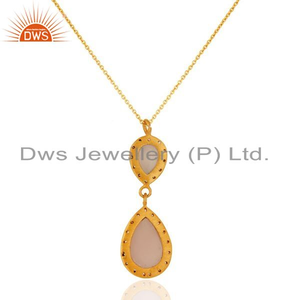 Exporter 18K Gold Plated Sterling Silver Rose Chalcedony Pendant Necklace