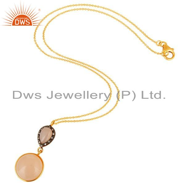 Exporter 18K Yellow Gold Plated Sterling Silver Rose Chalcedony Drop Pendant With Chain
