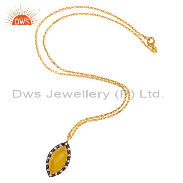 Exporter 14K Yellow Gold Plated Sterling Silver Moonstone Gemstone Pendant Necklace