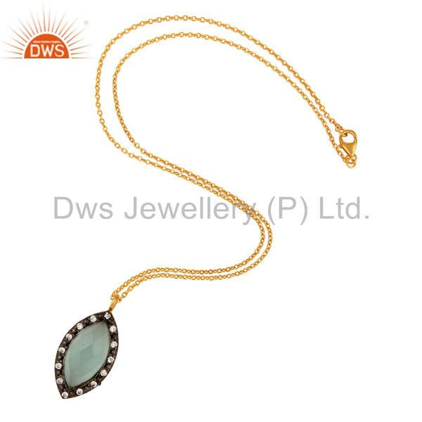 Exporter Gold Plated Sterling Silver Lab-Created Aqua Blue Chalcedony Gemstone Pendant