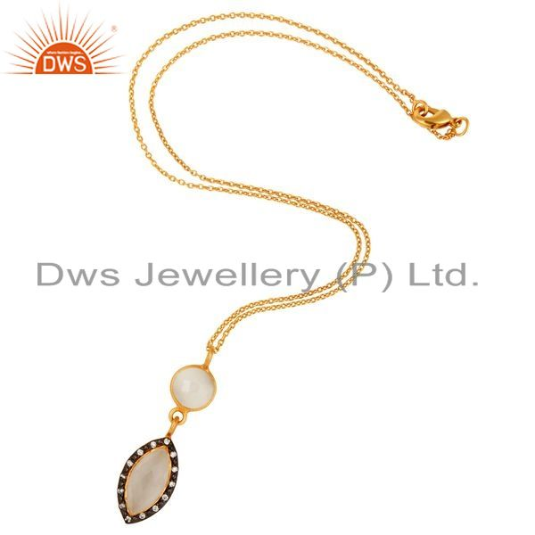 Exporter White Moonstone Gemstone Drop Pendant With CZ In 18K Gold On Sterling Silver