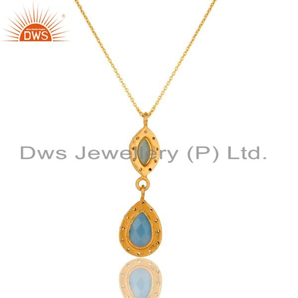 Exporter 18K Gold Plated Sterling Silver Aqua Chalcedony Gemstone Pendant With Chain