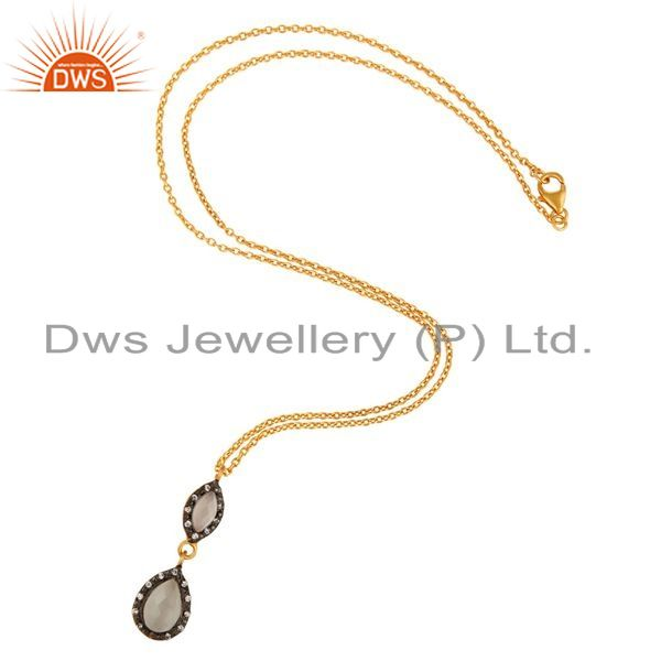 Exporter 18K Gold Plated Faceted White Moonstone & CZ Sterling Silver Pendant With 16