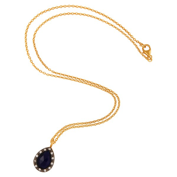 Exporter 18k Yellow Gold-Plated Sterling Silver Blue Corundum and CZ Accent Drop Pendant