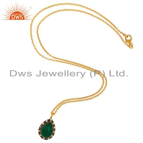 Exporter 18K Gold Plated 925 Sterling Silver Green Onyx & White Zirconia Chain Pendant