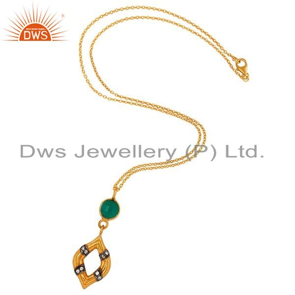 Exporter Gold Plated Sterling Silver Gemstone Designer Pendant With Green Onyx & Zircon
