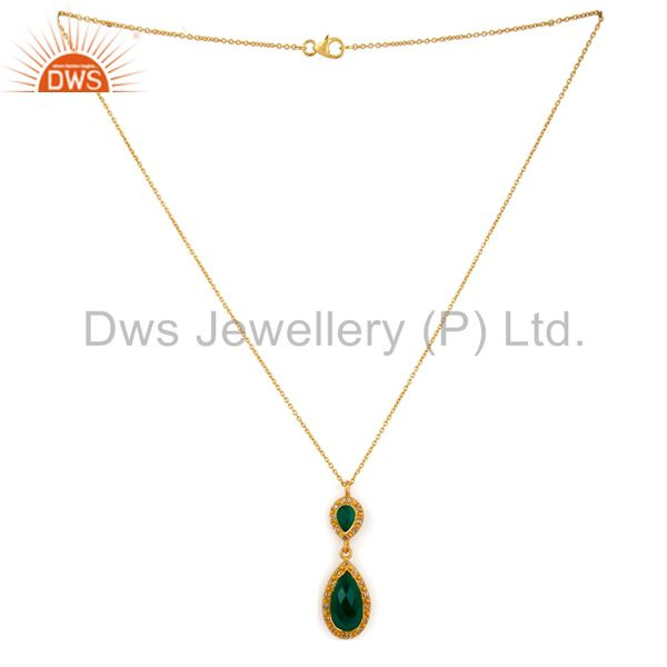 Exporter Sterling SIlver Green Onyx Gemstone 24K Gold Plated White Topaz Pendant 16 Inch