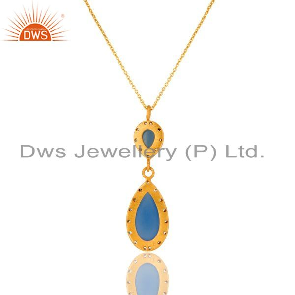 Exporter 18K Gold Plated 925 Sterling Silver Blue Chalcedony Zircon Pendant Jewelry