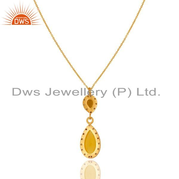 Exporter 18K Gold Plated Sterling Silver Yellow Moonstone And CZ Drop Pendant With Chain