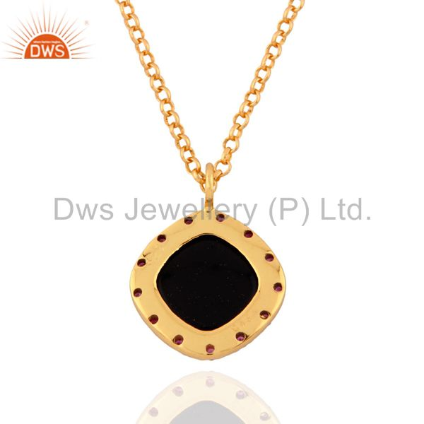 Exporter Real Ruby Gemstone 925 Sterling SIlver Black Onyx Pendant 18k Gold Plated 16