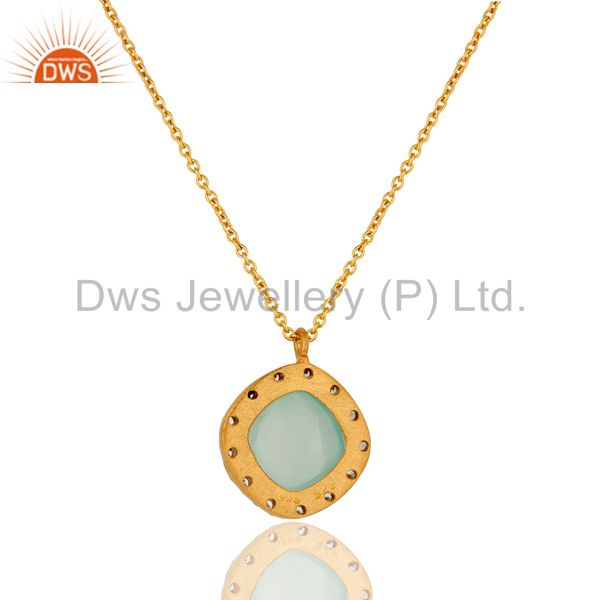 Exporter Gold Plated Sterling Silver Aqua Glass & Cubic Zirconia Fashion Pendant Neckla