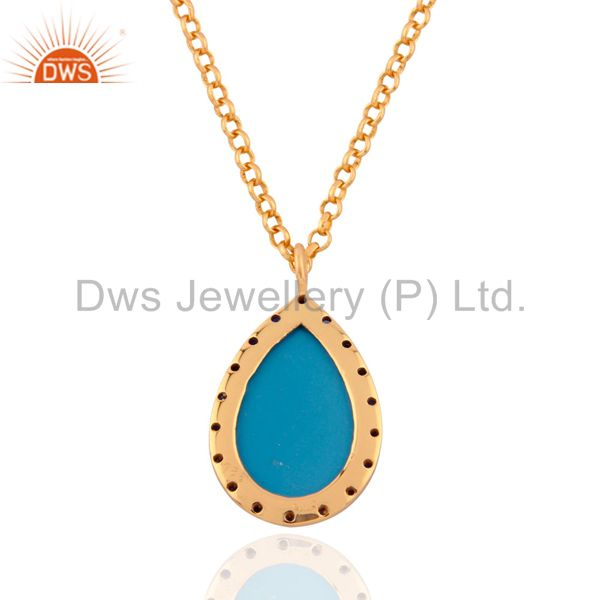 Exporter Blue Sapphire 18 karat Gold Plated Turquoise 925 Silver Pendant Necklace