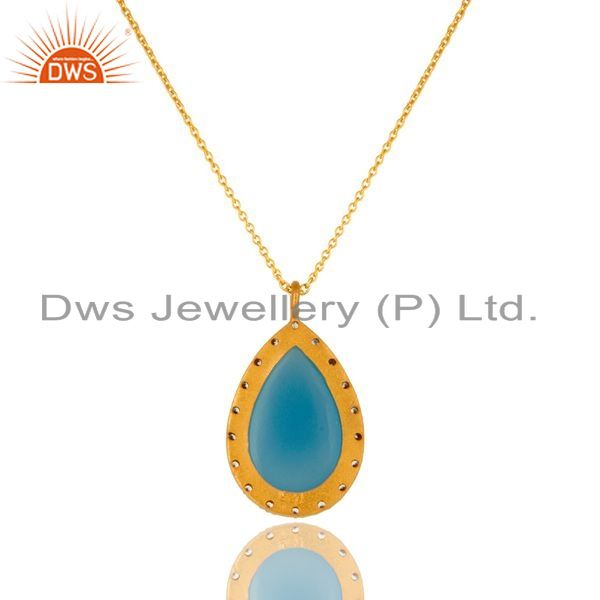 Exporter 18K Gold Plated Sterling Silver Blue Chalcedony And CZ Drop Pendant With Chain