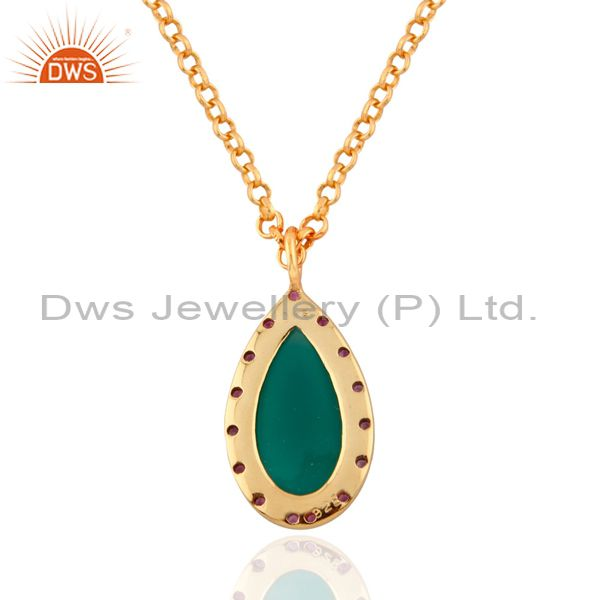 Exporter 925 Silver Ruby Gemstone Drop 24k Gold Plated Green Onyx Pendant charm 16