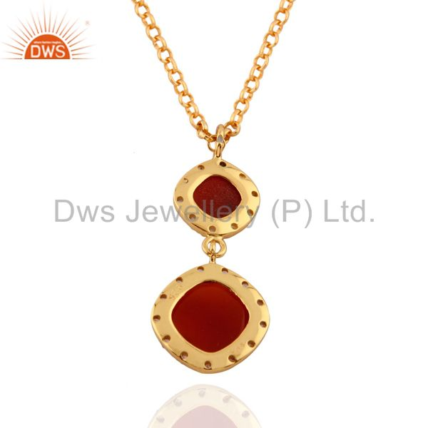 Exporter classical 24K Yellow Gold Plated White Topaz & Red Onyx 925 SIlver Drop Pendant