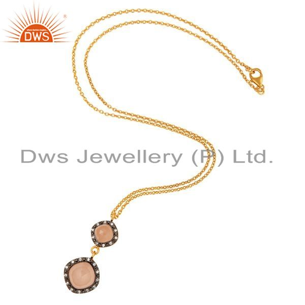 Exporter 18K Yellow Gold Plated Sterling Silver Rose Chalcedony Drop Pendant Witn Chain