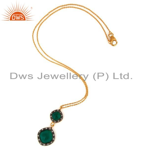 Exporter Gold Plated Sterling Silver Green Onyx Gemstone Pendant With 16