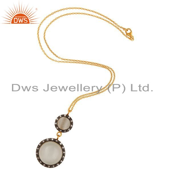 Exporter Sterling Silver With Gold Plated Moonstone Cubic Zirconia Drop Pendant Necklace