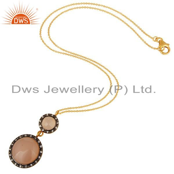 Exporter 18K Gold Plated Sterling Silver Rose Chalcedony And CZ Drop Pendant With Chain