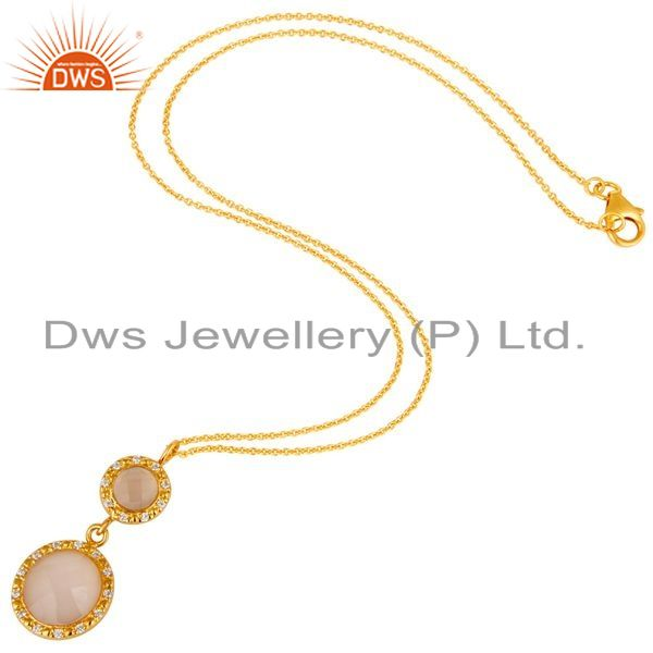 Exporter 18K Gold Plated Sterling Silver Rose Chalcedony & CZ Drop Pendant With Chain