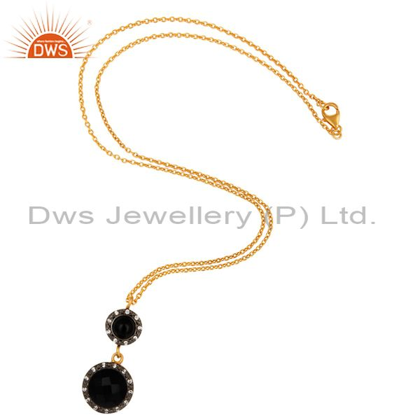 Exporter Black Onyx Gemstone Pendant Necklace With CZ In 18K Gold Over Sterling Silver