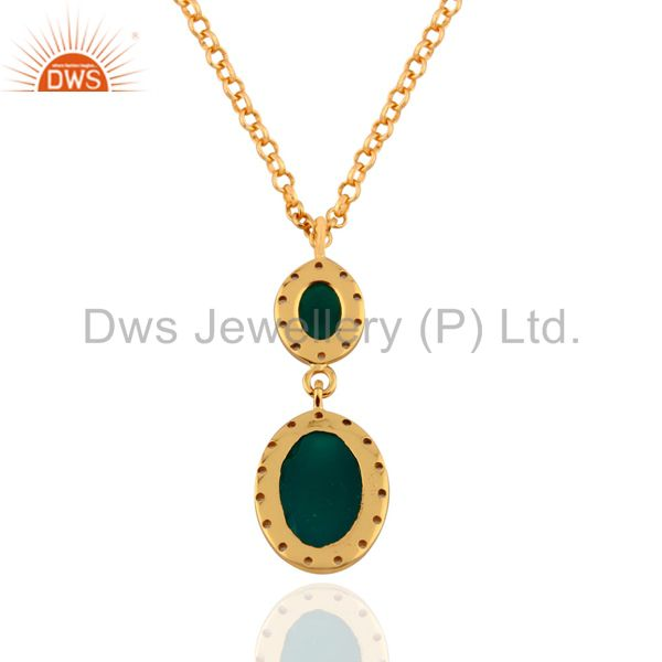 Exporter White Topaz 925 Sterling SIlver Green Onyx 18k Yellow Gold Plated Pendant 16