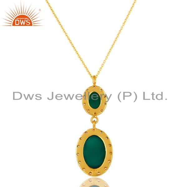 Exporter 18K Yellow Gold Plated Sterling Silver Green Onyx & CZ Drop Pendant With Chain