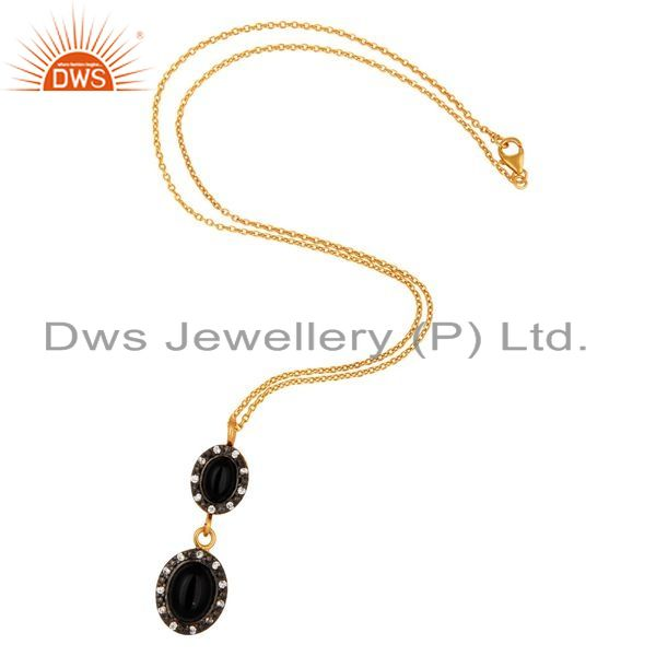 Exporter 925 Sterling Silver Black Onyx Gemstone Pendant Necklace With 18K Gold Plated