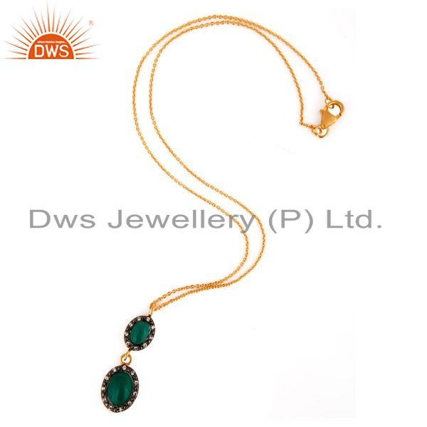 Exporter 18K Gold Plated Solid 925 Sterling Silver Green Onyx & Cz Beautiful Drop Pendant