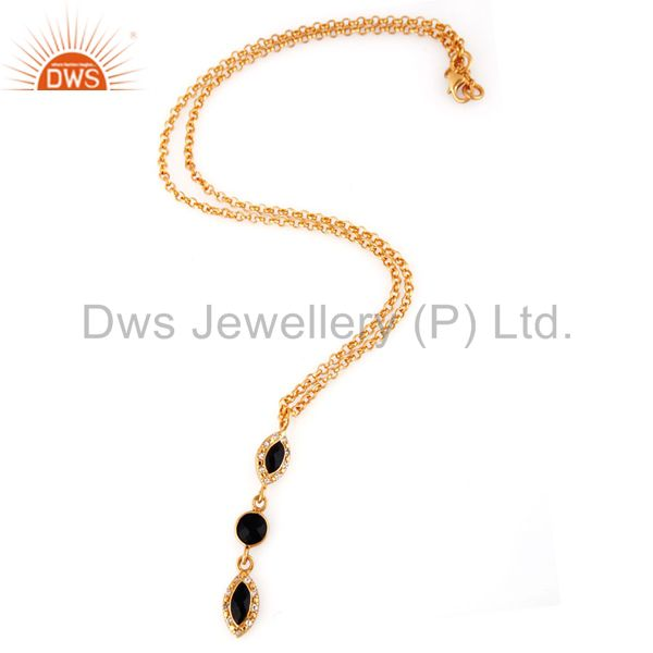 Exporter Black Onyx & White Topaz Gemstone Pendant In Gold Plated Over Sterling Silver