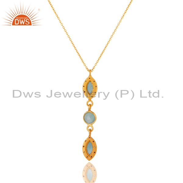 Exporter Blue Chalcedony and CZ Gemstone Pendant In Gold Plated Over Sterling Silver