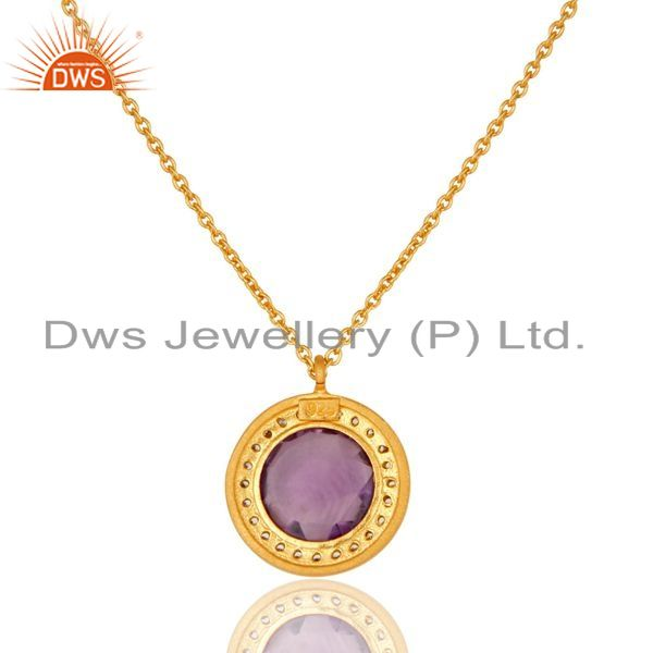 Exporter 18K Yellow Gold Plated Sterling Silver Amethyst And CZ Pendant With Chain