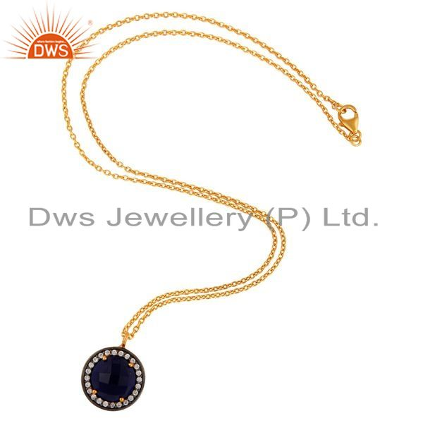 Exporter 18k Gold Over Silver Blue Corundum Checkerboard Gemstone & CZ Pendant Necklace