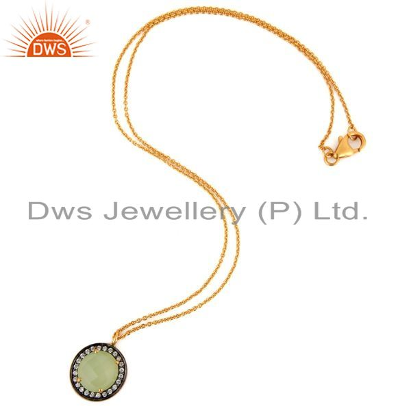 Exporter 18K Gold Plated Sterling Silver Prehnite Chalcedony Gemstone Pendant With Chain