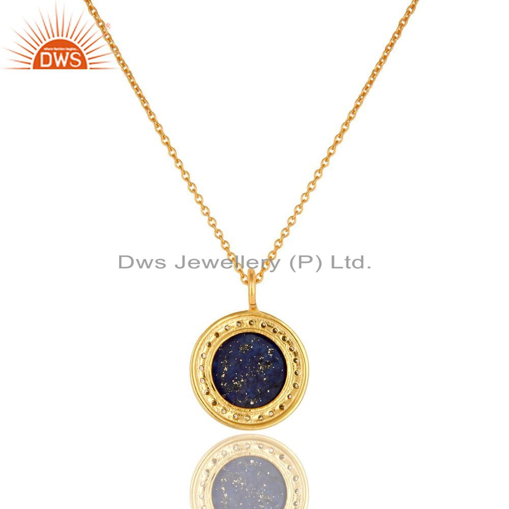 Exporter 14K Yellow Gold Plated Sterling Silver CZ And Lapis Lazuli Pendant With Chain