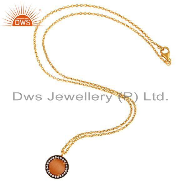 Exporter 24K Gold Plated Peach Moonstone 925 Sterling Silver Pendant Necklace With CZ