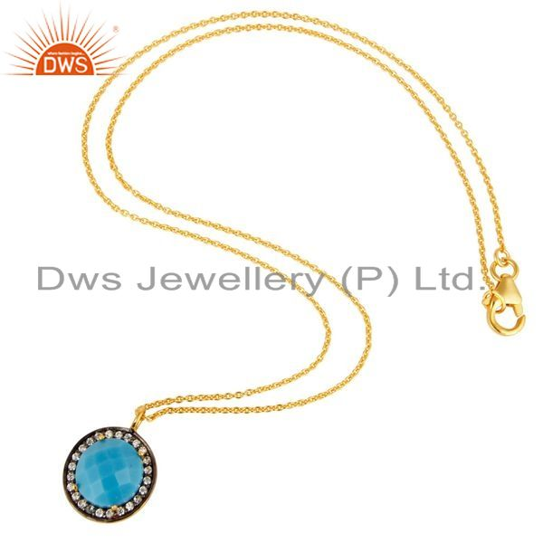 Exporter 18K Yellow Gold Plated Sterling Silver Turquoise And CZ Pendant With 16