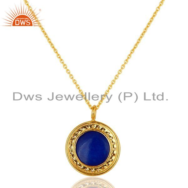 Exporter 14K Yellow Gold Plated Sterling Silver Blue Aventurine And CZ Pendant With Chain