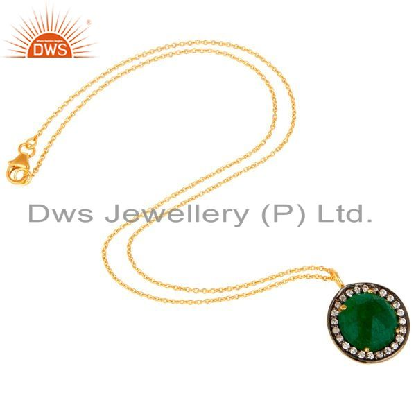 Exporter 18K Gold Plated Sterling Silver Green Aventurine And CZ Drop Pendant With Chain