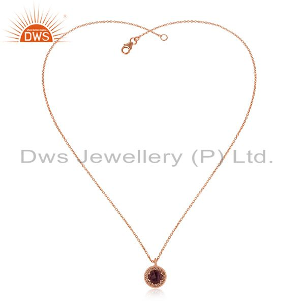 Exporter Rose Gold Plated 925 Silver Amethyst Gemstone Chain Pendant Manufacturer