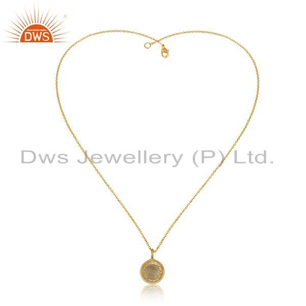 Exporter White and Lemon Topaz Gemstone Designer Gold Plated Silver Chain Pendant Jewelry