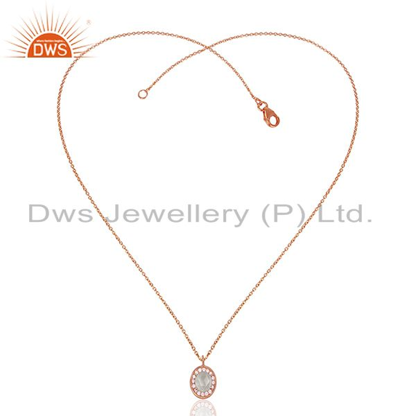 Exporter Multi Gemstone 925 Silver Rose Gold Plated Pendant Wholesale