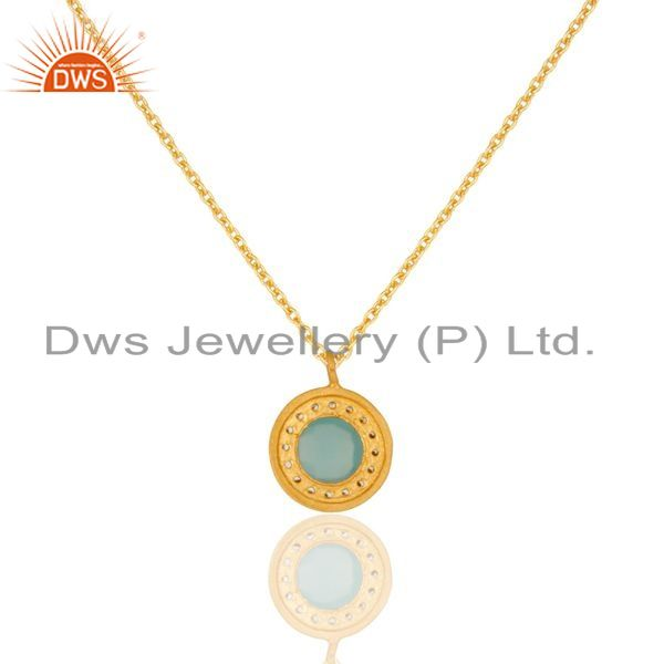 Exporter 18K Yellow Gold Plated Sterling Silver Blue Chalcedony And CZ Pendant With Chain