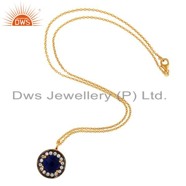 Exporter 18K Gold Plated 925 Sterling Silver Blue Corundum Gemstone Pendant With Chain