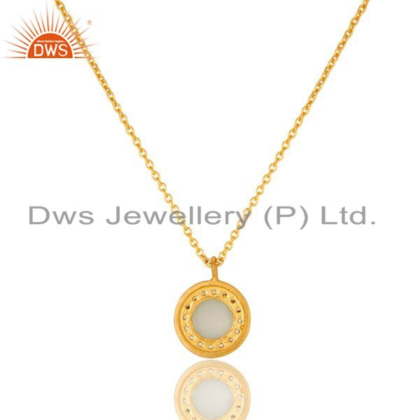 Exporter 18K Gold Plated Sterling Silver White Moonstone And CZ Drop Pendant With Chain
