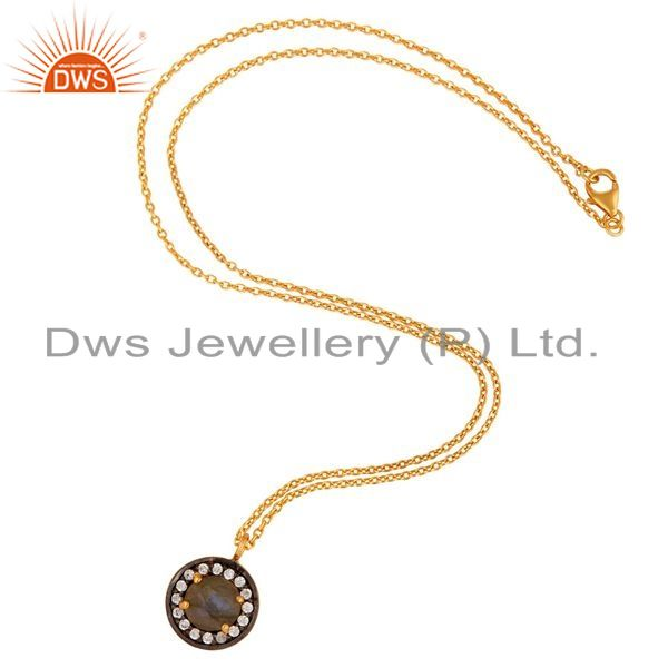 Exporter Natural Labradorite Gemstone Pave CZ Gold Plated Sterling Silver Pendant Chain