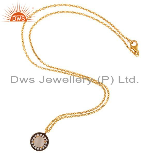 Exporter 925 Sterling Silver Yellow Gold Plated White Moonstone & CZ Pendant With Chain