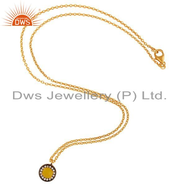 Exporter 18K Yellow Gold Plated 925 Sterling Silver Yellow Moonstone Pendant Necklace
