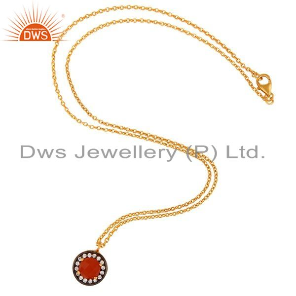 Exporter Gold Plated 925 Sterling Silver Red Onyx Gemstone Pendant Necklace With CZ