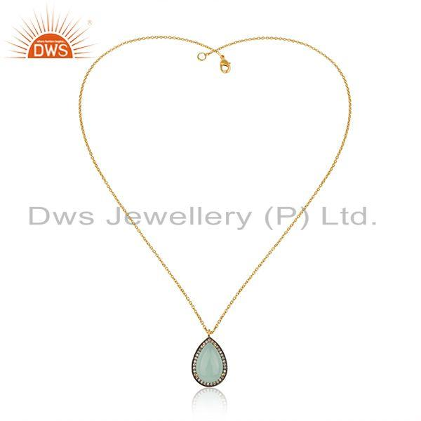 Exporter Aqua Chalcedony Gemstone 925 Silver Gold Plated Chain Pendant manufacturer INDia